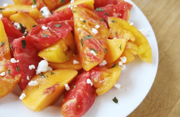Peach-Tomato Salad with Basil and Feta