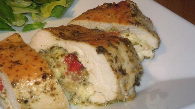 Pesto & Mozzarella cheese stuffed chicken breast