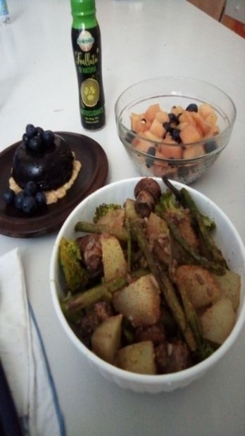 Roast potato, mushroom, broccoli and asparagus