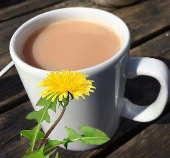 Roasted Dandelion Tea with milk and Blackstrap Molasses