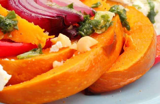 Roasted Pumpkin Wedges with Pumpkin Seed Pesto