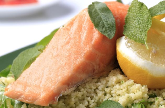 Roasted Salmon with Lemon Couscous and Asparagus