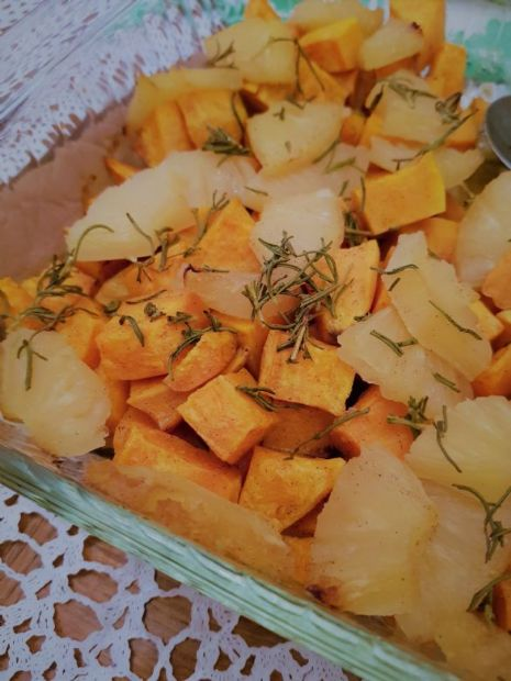 Roasted Sweet Potatoes with Pineapple and Rosemary