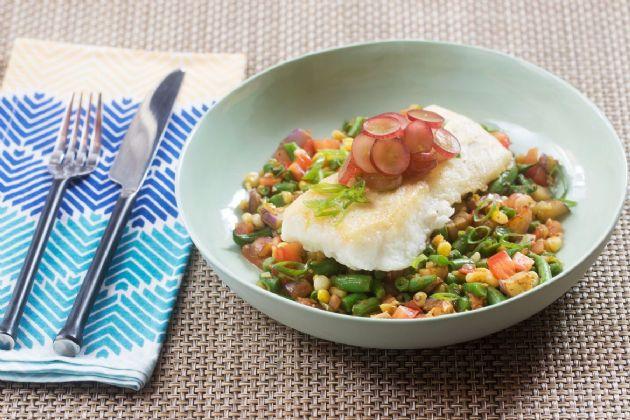 Seared Cod and Summer Succotash