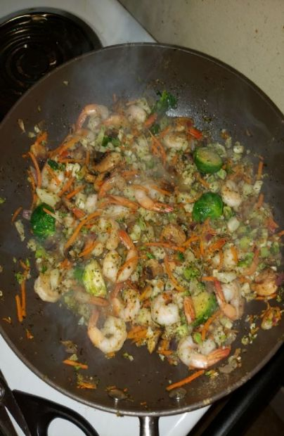 Shrimp Stir Fry w/brussel sprouts, cauliflower rice,