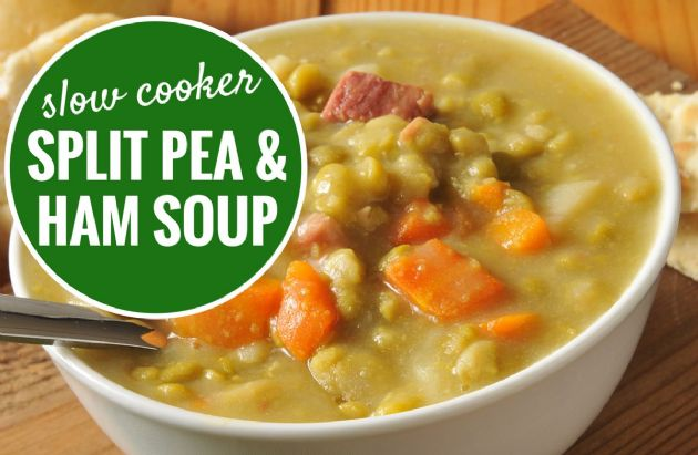 Slow Cooker Split Pea and Ham Soup Recipe | SparkRecipes