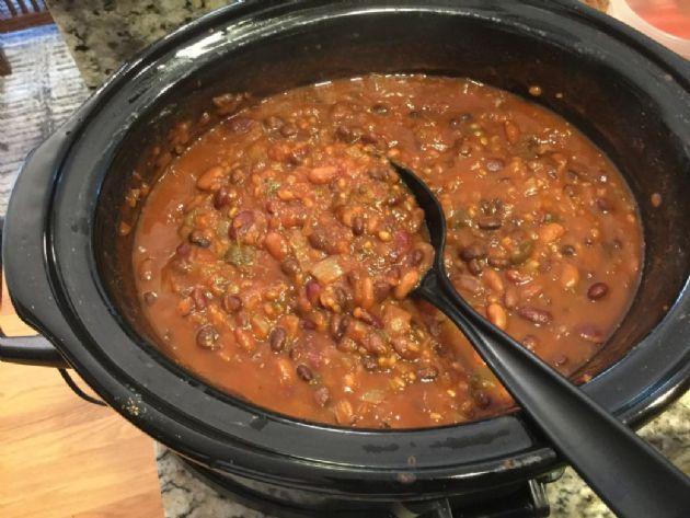Slow-Cooker Three Bean Wheat Berry Chili