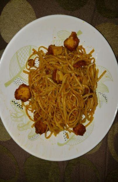 Spicy Leftover Buffalo Chicken Whole Wheat Pasta