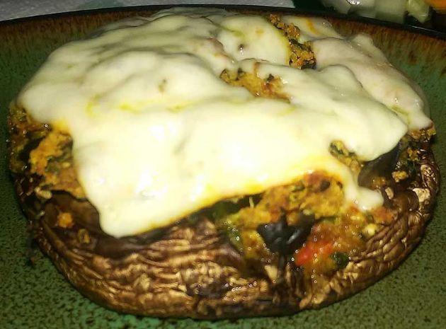 Spinach & Cheese Stuffed Portobello Mushroom Caps