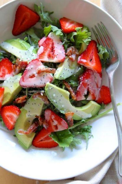 Strawberry Avocado Kale Salad w/ Bacon Poppyseed Dressing