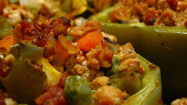 Stuffed Peppers w Turkey and Vegetables
