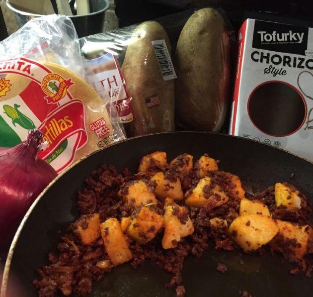 Tofurkey chorizo and potato tacos