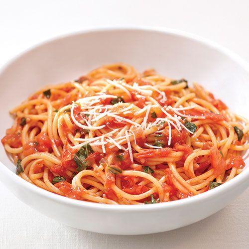 Tomato, Basil, Ground Turkey Sauce & Spaghetti