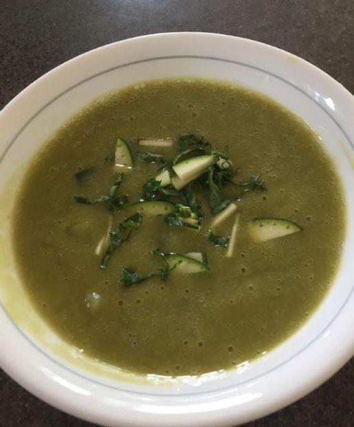 WFPB Zucchini Potato Kale Soup