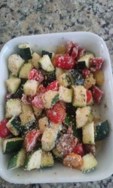 Zucchini Bake w/Tomato, Garlic and Parmesan