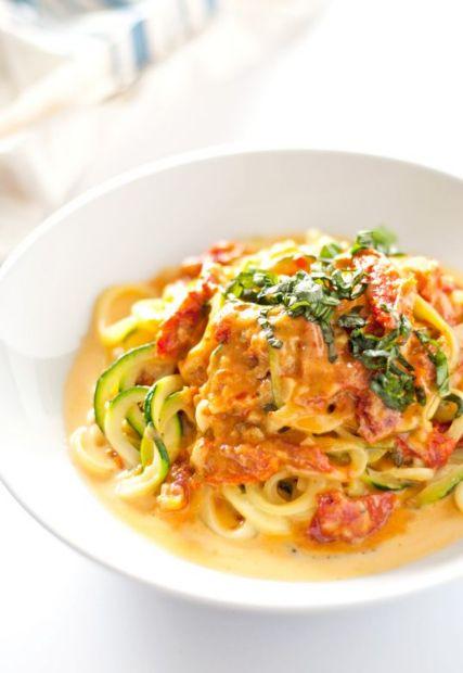 Zucchini Noodle w/ Sun-dried Tomato Parmesan Cream Sauce