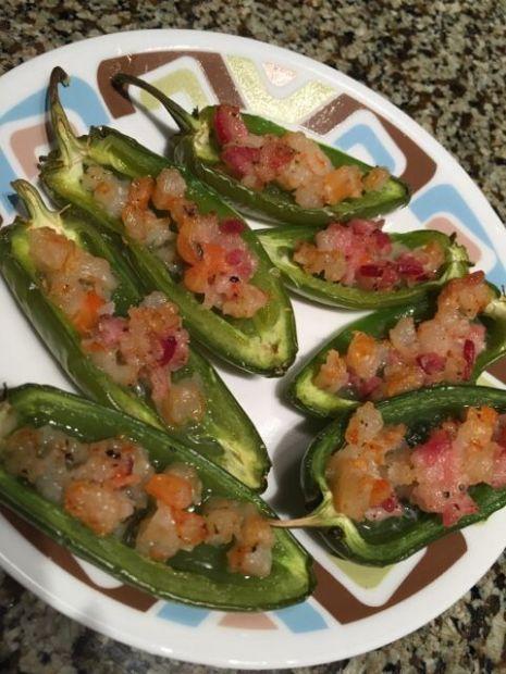 Bacon & shrimp stuffed jalapeño poppers