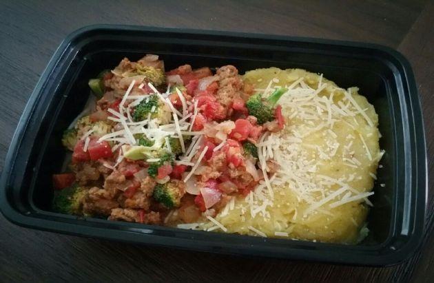 Italian Turkey w/Broccoli, Tomatoes and Mushrooms w/Roasted Parmesan Spaghetti Squash
