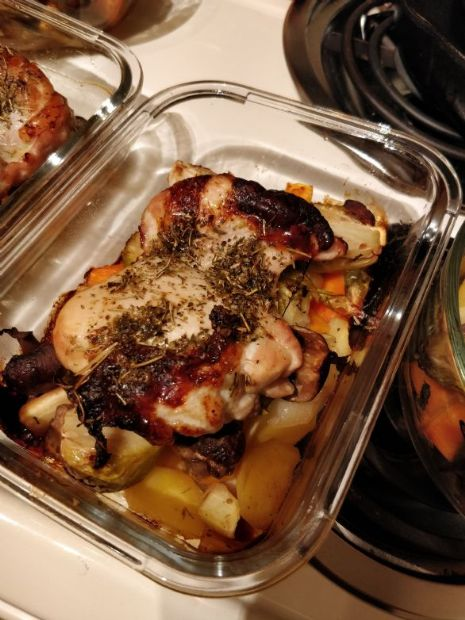 roasted chicken thigh and vegetables