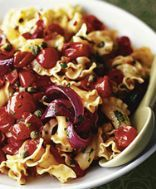 Roasted Tomatoes Chillies and Capers on GI (lentil) pasta