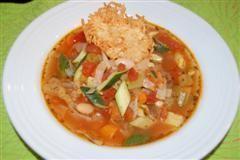 Minestrone Soup with Parmesan Crisp