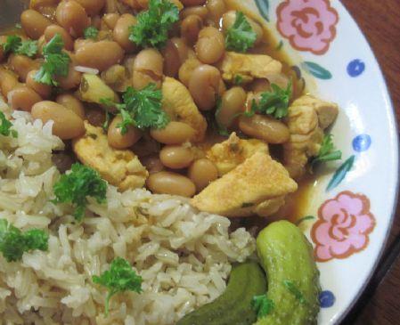 Healthy Lebanese Chicken and Beans Stew- Fasoulia b' djej