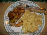 Pork Chops with Cinnamon Apples and Parsleyed Egg Noodles