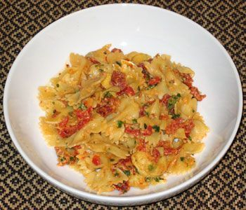 Bow Tie Pasta with Artichoke Hearts, Tomatoes, and Capers