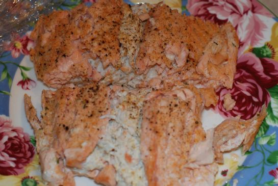King Crab Stuffed Salmon w/ lemon sauce