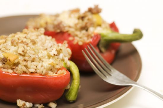 Barley-Stuffed Peppers with Apples, Pecans, and Stilton Cheese