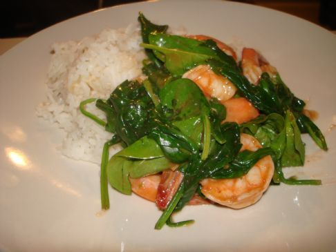 Szechuan Shrimp with Spinach