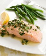 Poached Salmon with Herb Sauce