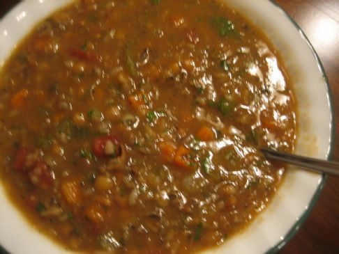 Lentil Vegetable Soup with Wild Rice