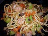 Shrimp and noodle stirfry