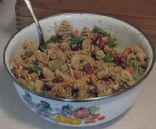 Tangy & crunchy whole wheat pasta salad