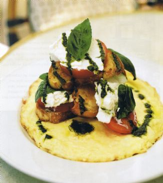 Open Omelette with Ciabatta, Mozzarella & Basil Oil