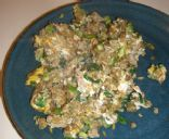 The Most Awesome Curry-Fried Brown Rice and Lentils with Sausage