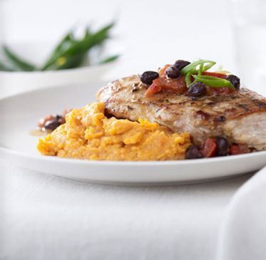 Jamaican Chicken Breast with Mashed Sweet Potatoes