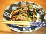 Hijiki with carrots, gobo (burdock root) and geen beans (Japanese dish)