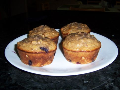 Blueberry/Banana Wheat and FlaxPlus Granola Muffins