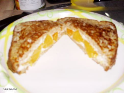 peach & Cream cheese stuffed french toast