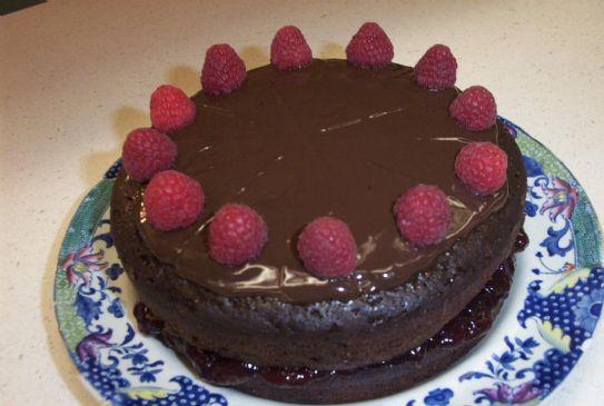 Exquisite 150 calorie chocolate-raspberry cake
