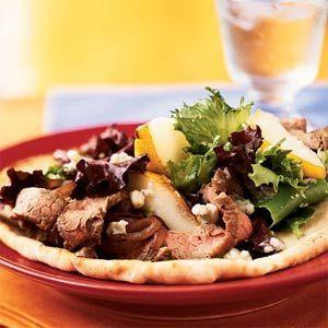 Open-Faced Steak, Pear, and Gorgonzola Sandwich