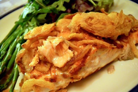 Baked Salmon with Fried Onions