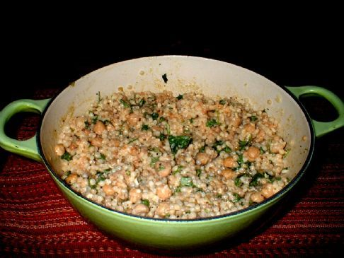 Toasted Israeli Couscous with Chickpeas, Tahini and Mint (Vegan)