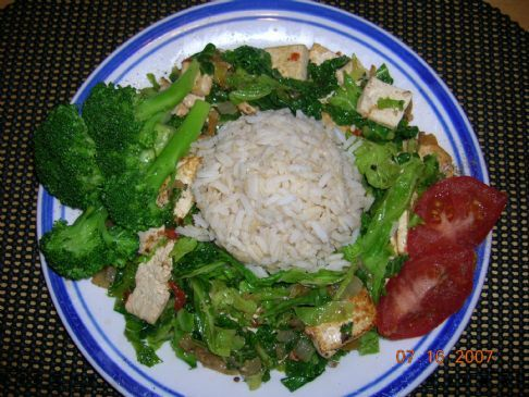 Spicy Cabbage Stir Fry with Tofu