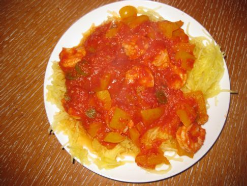 Spicy Shrimp Marinara (With Spaghetti Squash and loads of good for you vitamins :)