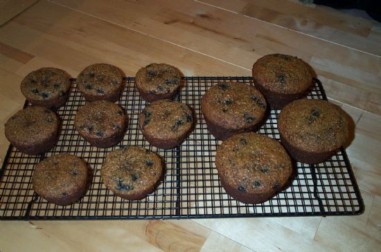 Low-Fat, Low-Calorie, High-Fiber, High-Protein Blueberry Bran Muffins
