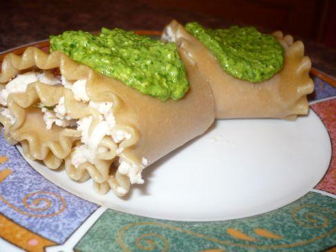 Stuffed Lasagna Rolls With Spinach-Mint Pesto