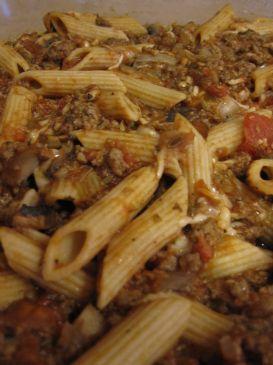 Beef and Mushroom Penne Pasta Bake